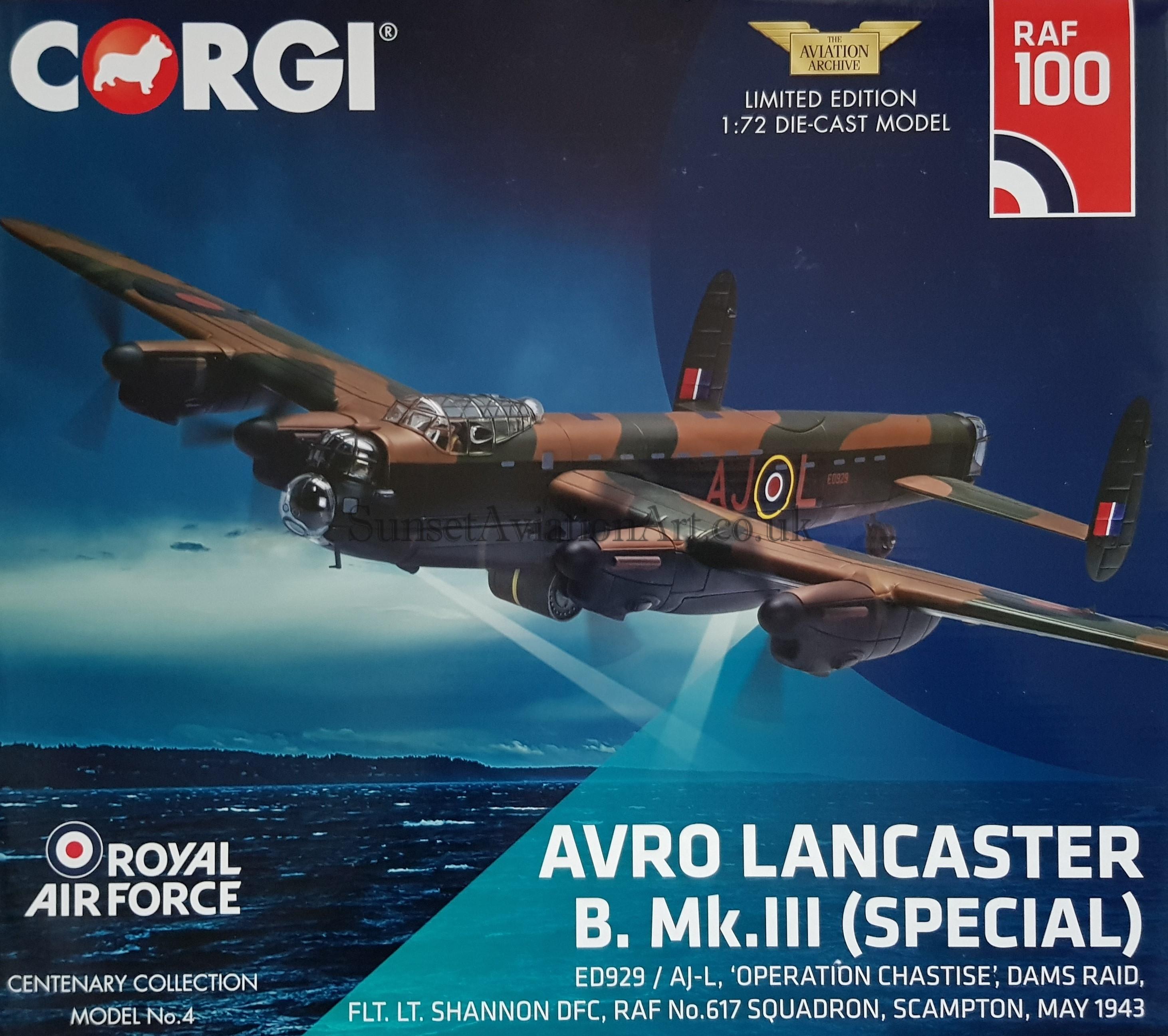 May 1943 1:72 Die-Cast Airplane AA32625 Corgi Avro Lancaster B Mk.III Special