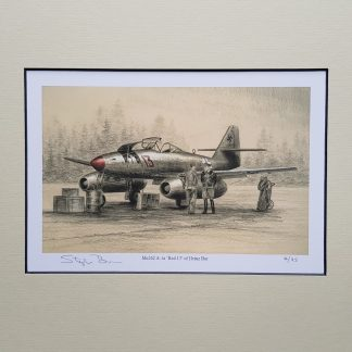 Me 262 A 1a Red 13 of Heinz Bar Pencil Drawing (Stephen Brown Aviation Artist)